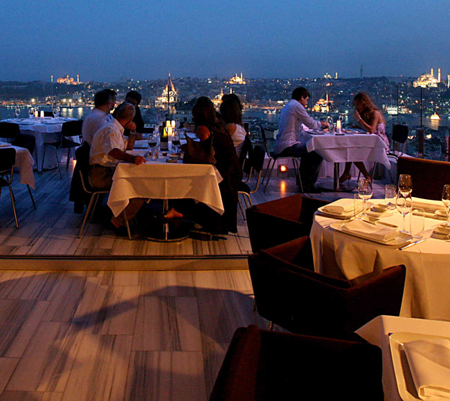 Istanbul Marmara Pera Rooftop Restaurant  Best New Bar View