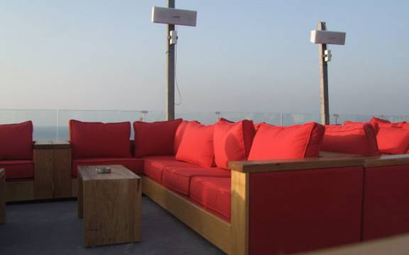 Jnah District Beirut Lebanon Located On The Rooftop Of Hotel Waves Terrace Overlooks Mediterranean Sea And Majestic Mountain Chains